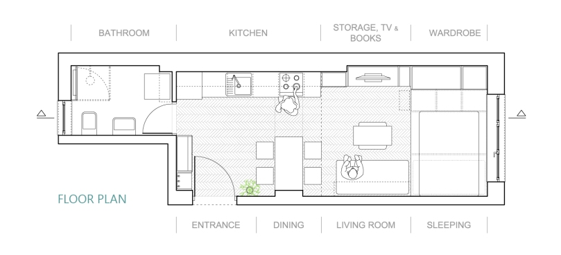 3 things to have in mind while designing a studio apartment: floor plan #1 | upgradesign
