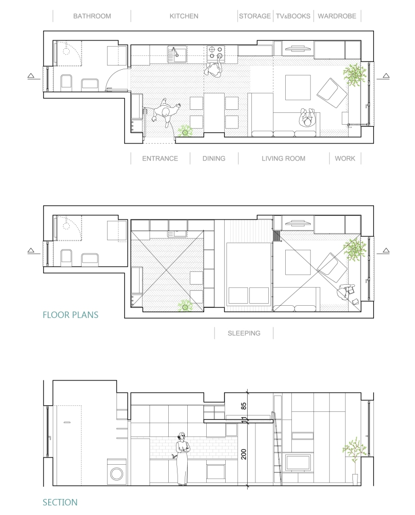3 things to have in mind while designing a studio apartment: plans #2 | upgradesign