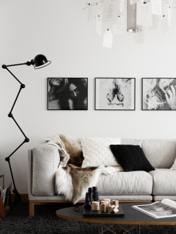 Floor lamps we love: Jielde lamp in black & white living room