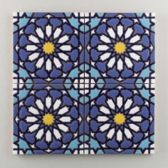 Fireclay Tile - The Classic Cuerda Seca Collection - Moorish Knot Cool Motif