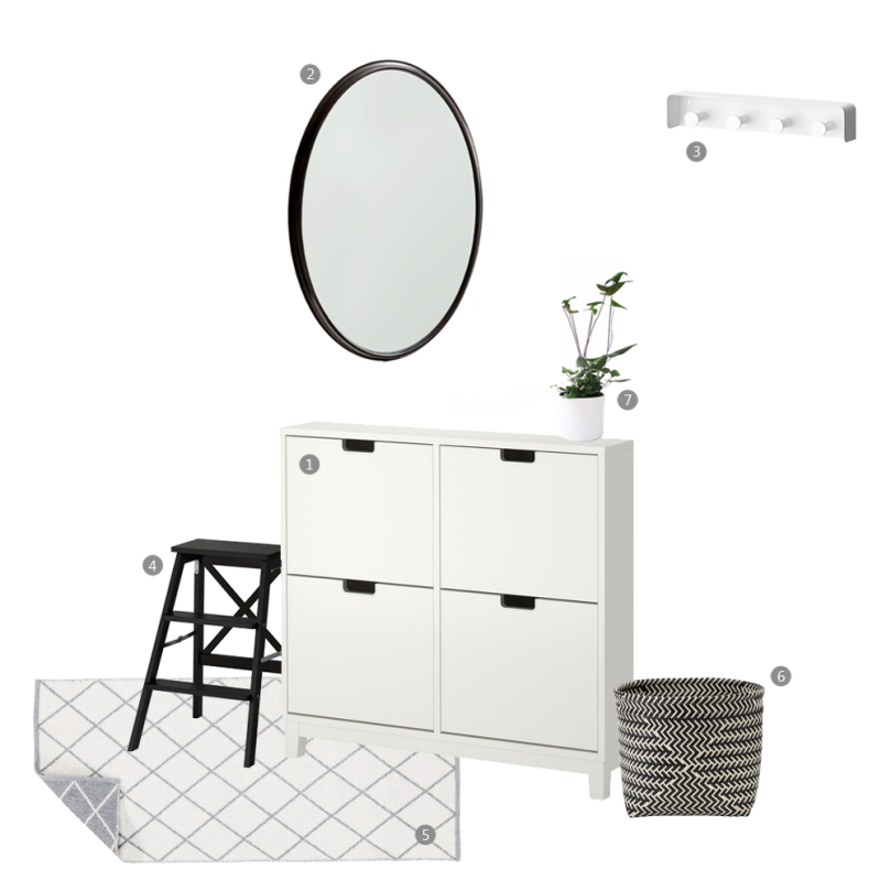 BLACK AND WHITE entrance space collage
