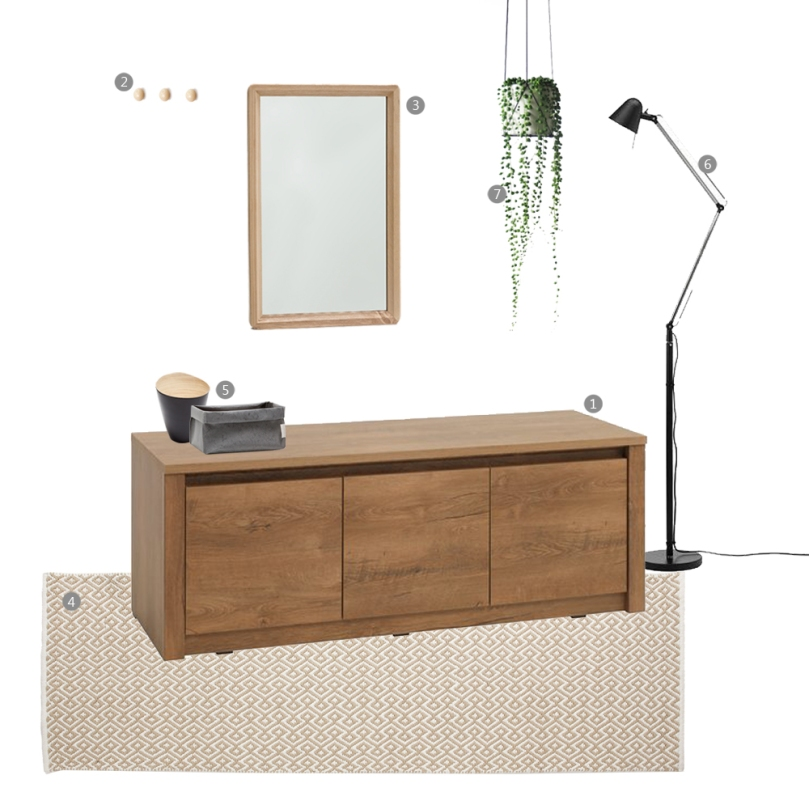 Tips and tricks for perfect entrance space: WOODEN STORAGE/BENCH entrance space collage
