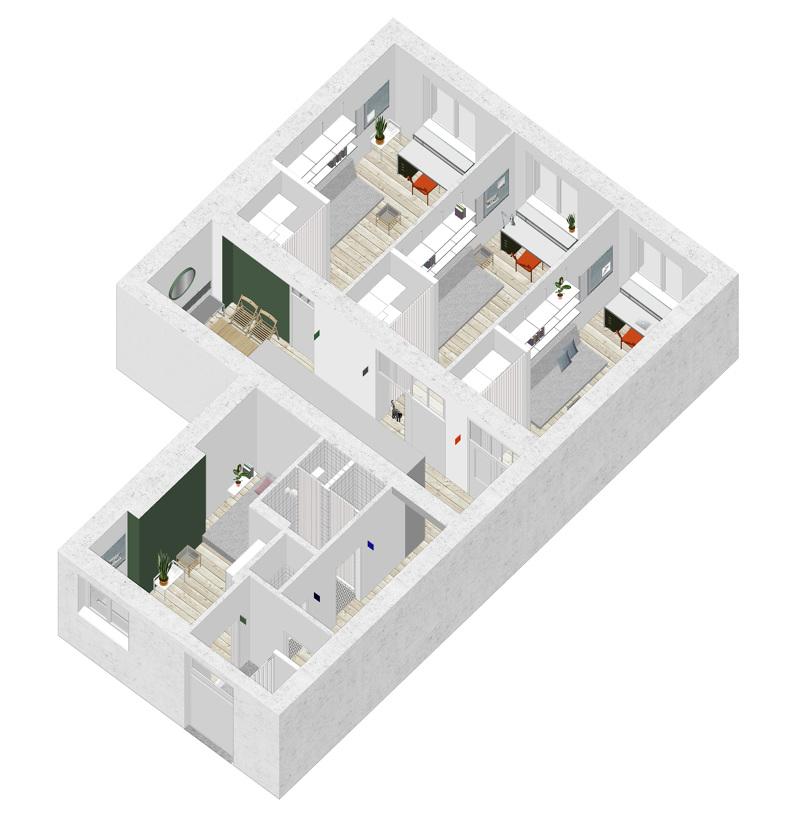Colors in an interior - part II: Adam Wiercinski Architekt - K103 axonometry