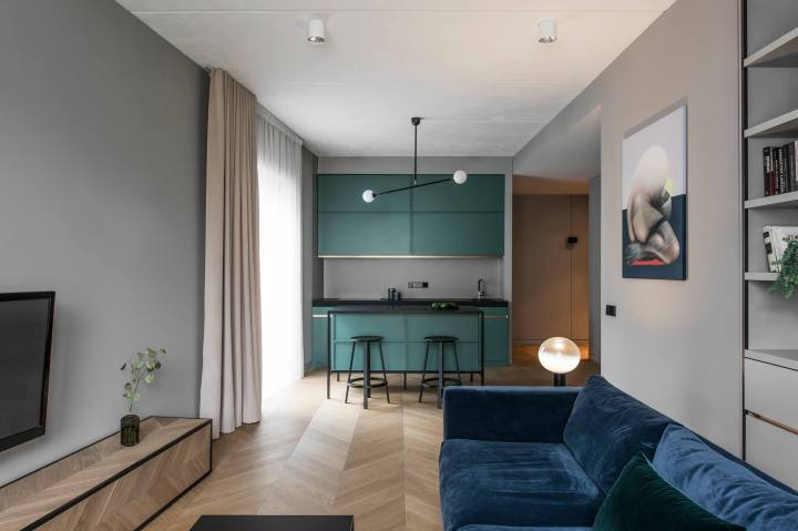 Color in an interior: AKTA studio - Apartment in Basanavičius st.