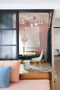 Home interior color palette   perfect color combinations   blush pink gold   floor tile pattern