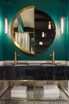 Home interior color palette | perfect color combinations | deep green gold | bathroom idea