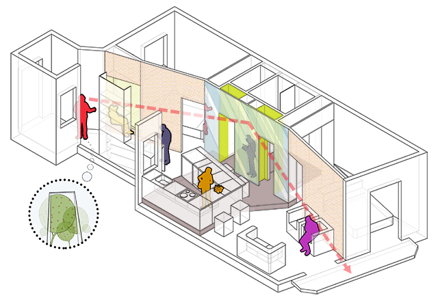 Colors in an interior - part II: MIEL Arquitectos - Piso Pere IV axonometry