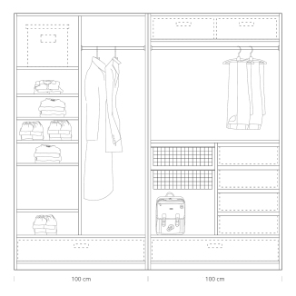 Quick tips for closet design: closet 100 + 100cm
