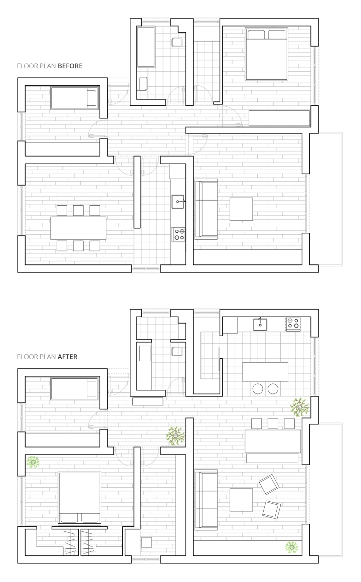 Home remodel floor plan | before and after | apartment layout organization
