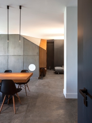 Interior lighting | sparkle lighting | interior design | concrete | dining space | BLAARCHITETTURA- Portland / Beppe Giardino photography / concrete element / apartment remodel / dining space