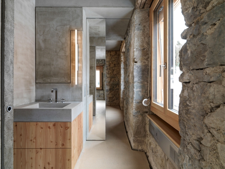 Gus Wüstemann Architects - House Z22 | bathroom | concrete sink | stone wall
