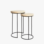 ZARA HOME NESTED WOODEN TABLES WITH IRON LEGS (SET OF 2)