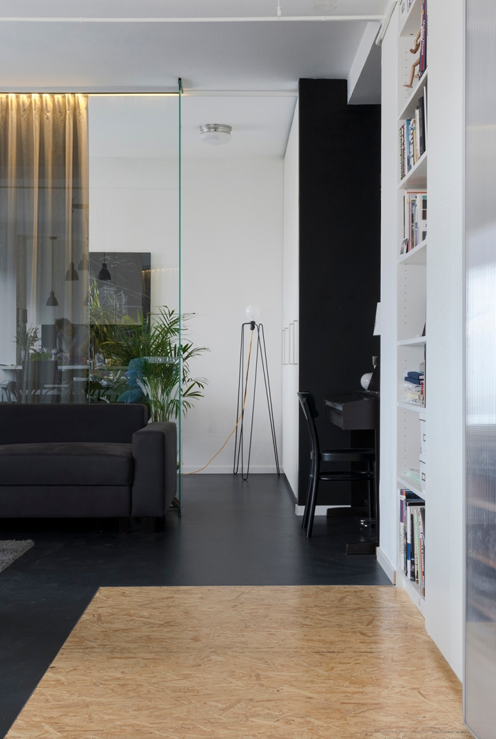 Apartment remodel in Zagreb | linoleum floor | OSB floor | glass wall