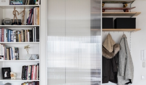 Apartment remodel in Zagreb | closet | storage | bookcase | lexan door
