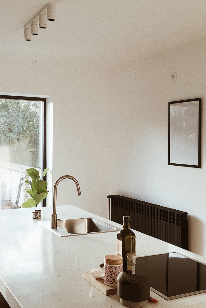 kitchen island | terrazzo kitchen | minimalistic kitchen | Danilo and Katarina's apartment // photo: Danilo&Sharon