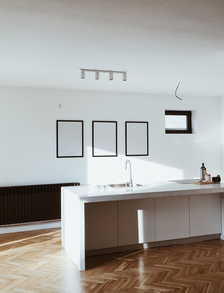 kitchen island | terrazzo kitchen | minimalistic kitchen | Danilo and Katarina's apartment