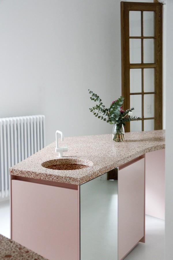 Dialect studio - Anne | terrazzo | terrazzo worktop | terrazzo in a kitchen | red terrazzo