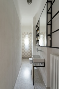 IFUB - Apartment S | new shower bath | terrazzo floor | black and white bathroom