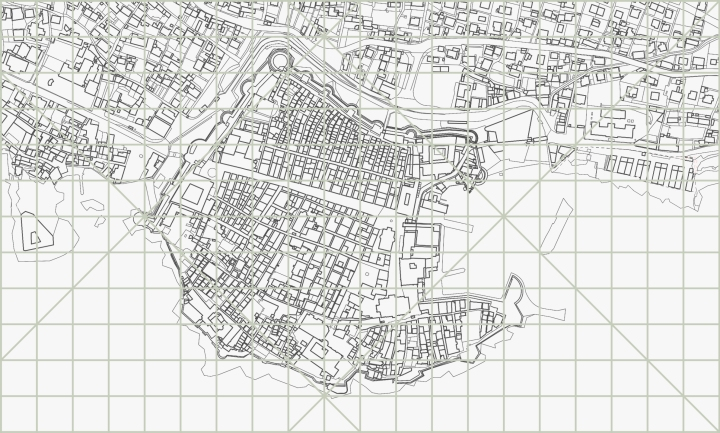 map of Dubrovnik with grid