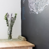 Apartment for daily rent | interior design | kitchen | dining space | chalkboard wall | neutral palette