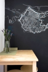 Apartment for daily rent   interior design   kitchen   dining space   chalkboard wall   map of Dubrovnik   neutral palette